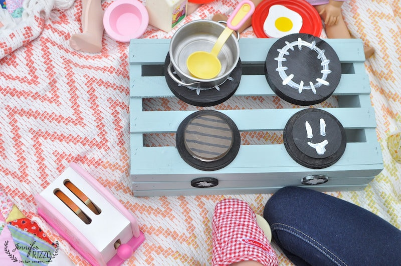 DIY wood crate play stove for summer fun