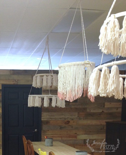 Fringe ceiling yarn hangings in the Makery at The Collective lhe in Lisle, IL