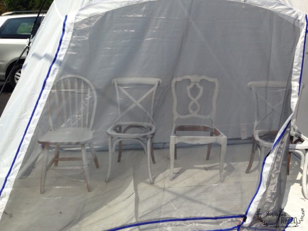 Chairs partially painted