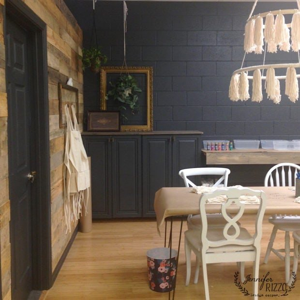 Makery with dark gray painted  walls with Benjamin Moore Wrought Iron