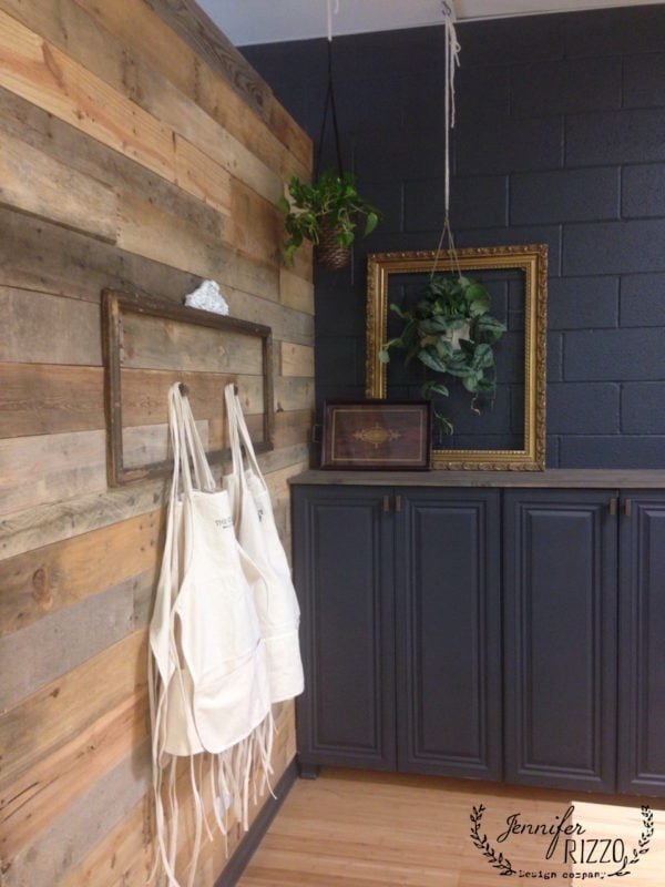 Wood wall with dark gray wall paint