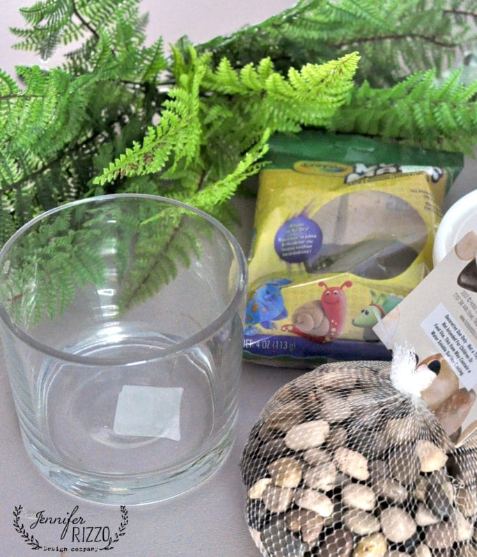 Supplies for making a faux fern in soil