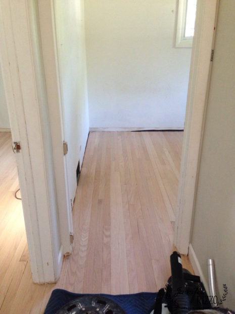 Bedroom floors sanded to bare wood