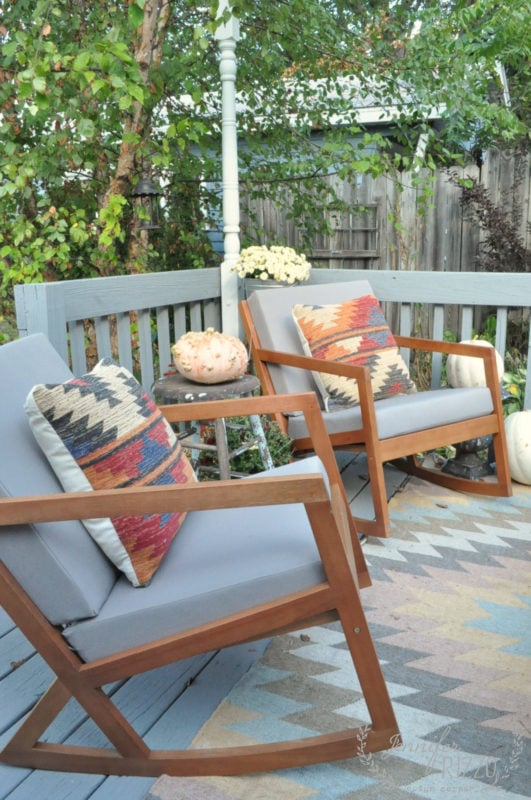Early fall deck decor and Killim pillows