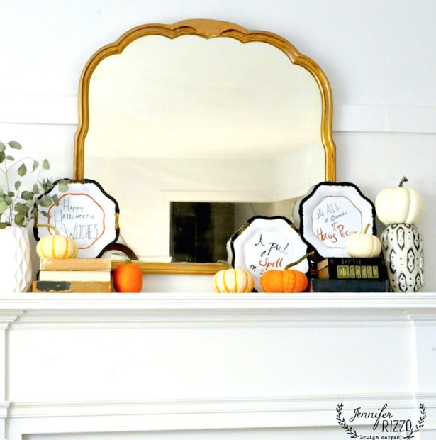 Halloween Mantel decorating idea with plates
