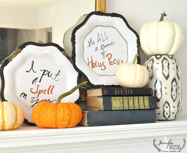 Halloween mantel decorating idea and handlettered plates with quotes