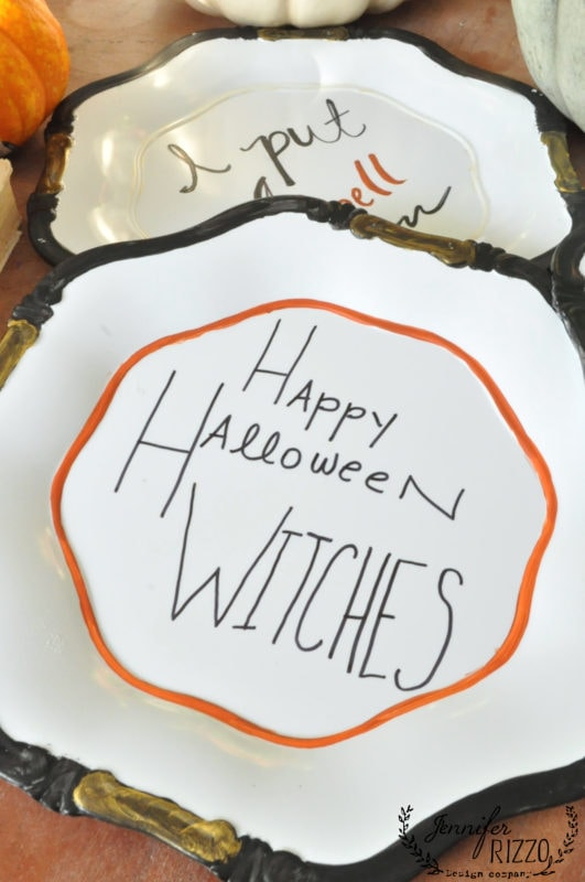 Hand painted Halloween plates Happy Halloween witches