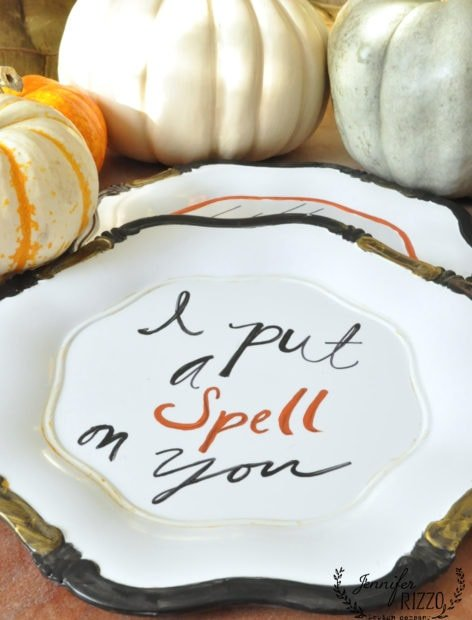 Hand lettered Halloween plates for fun decor