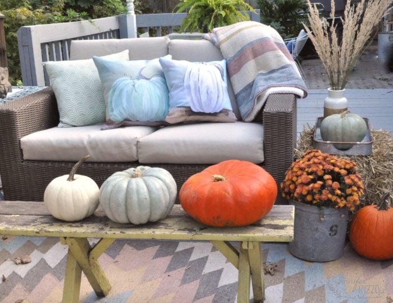 Pumpkins and mums as deck decor