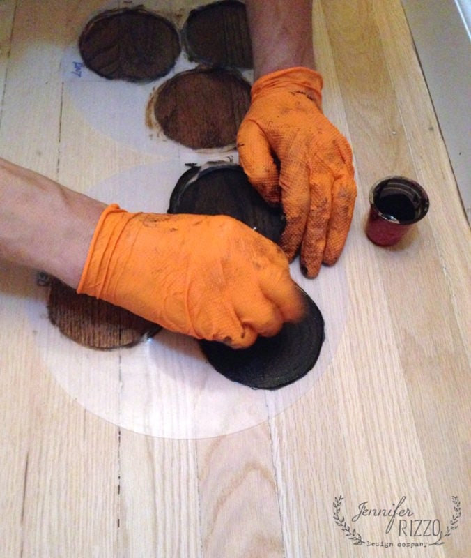 Mixing a custom stain color for hardwood floors