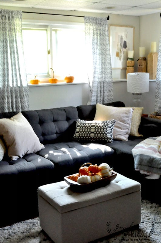 Pumpkins on sill in family room