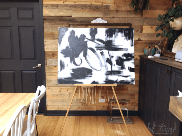 black and white abstract art painted by Jennifer Rizzo