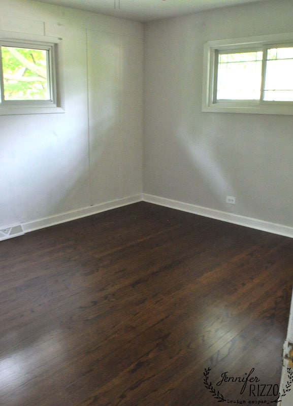 Dark stained wood bedroom floor color