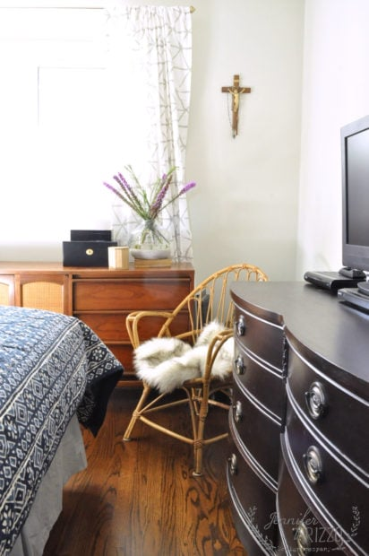 Boho rattan chair in bedroom