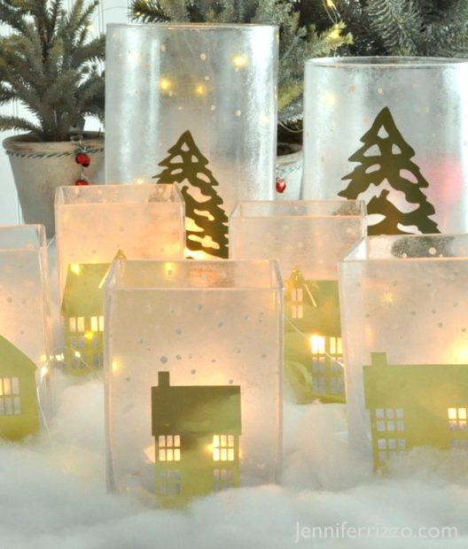 Cute, glowing winter vilalge luminaries