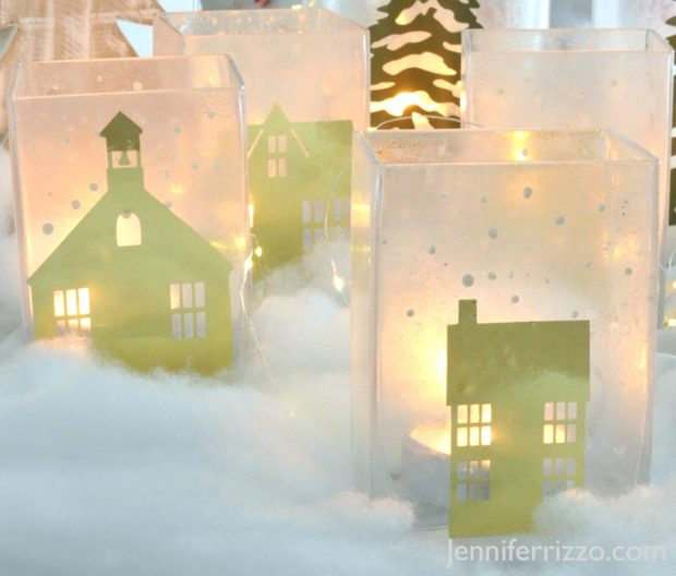 Snowy, Glowing, Winter Village Luminaries