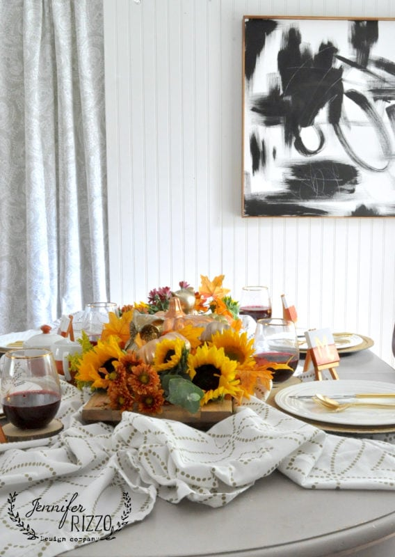 Fall metallic tablescape with sunflowers