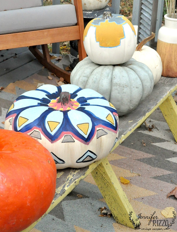 Hand painted kilim inspired pumpkins