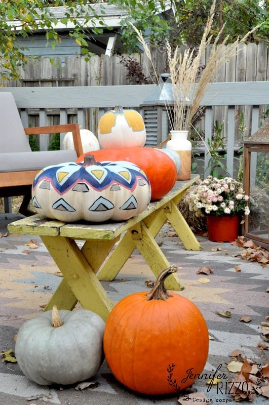 Kilim inspired hand painted pumpkins