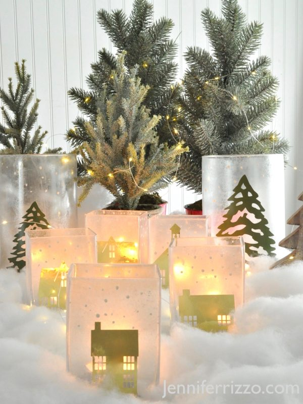 A winter village at the holidays made on glass