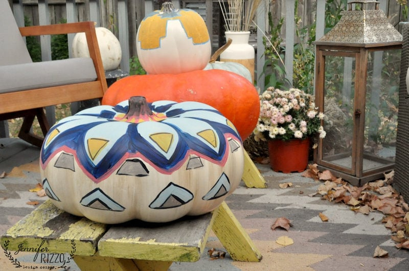 Colorful Painted patterns on pumpkins