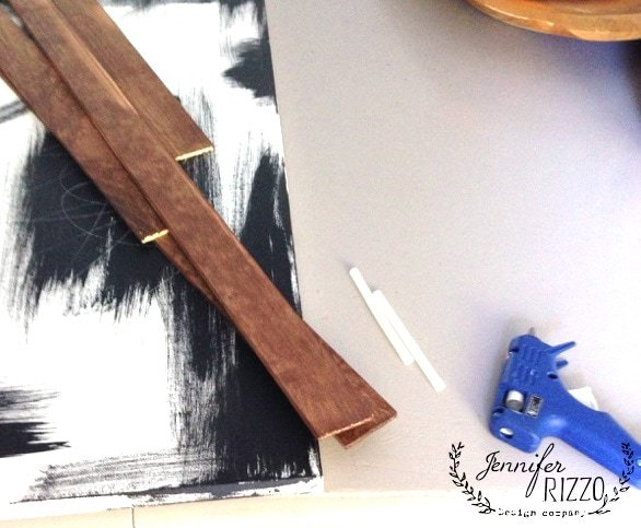 Stained wood slats for gluing to make an inexpensive picture frame