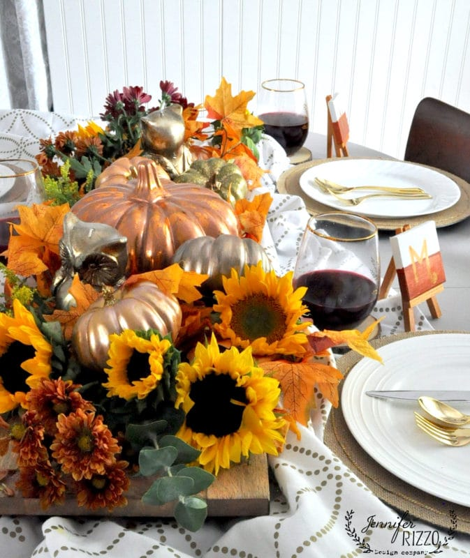 Fall tablescape with wood and metallics