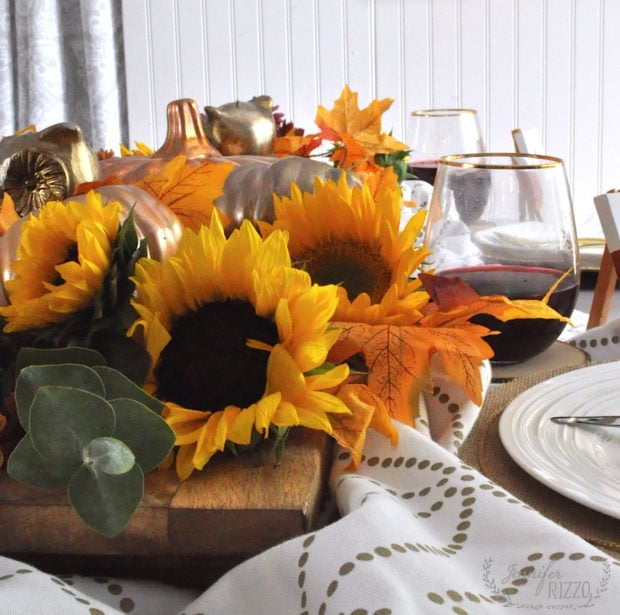 Sunflower centerpiece on Thanksgiving table