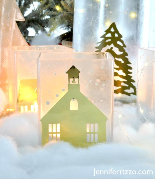 Winter vilage luminaries with a gold foil church