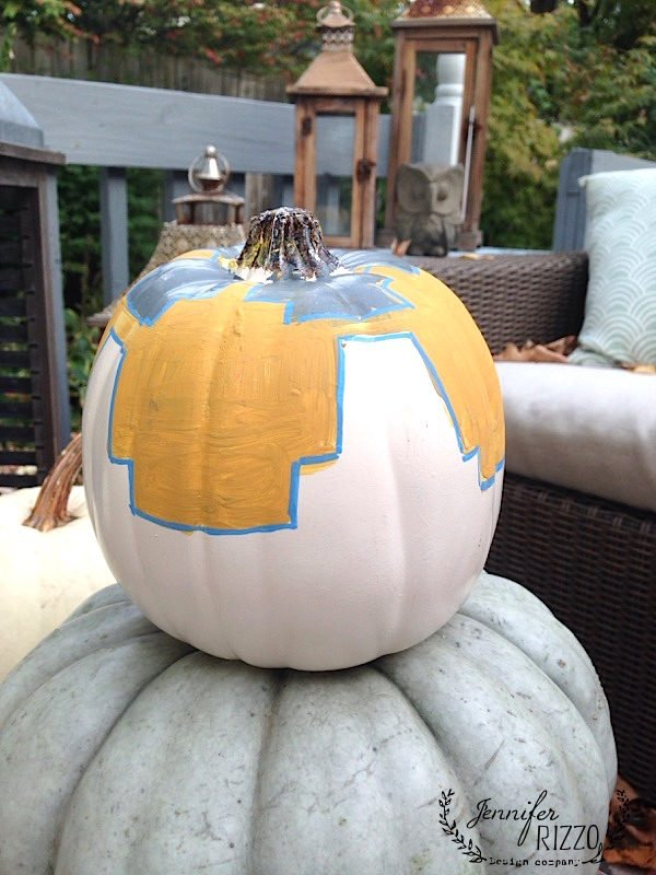 Gold and gray painted pumpkins