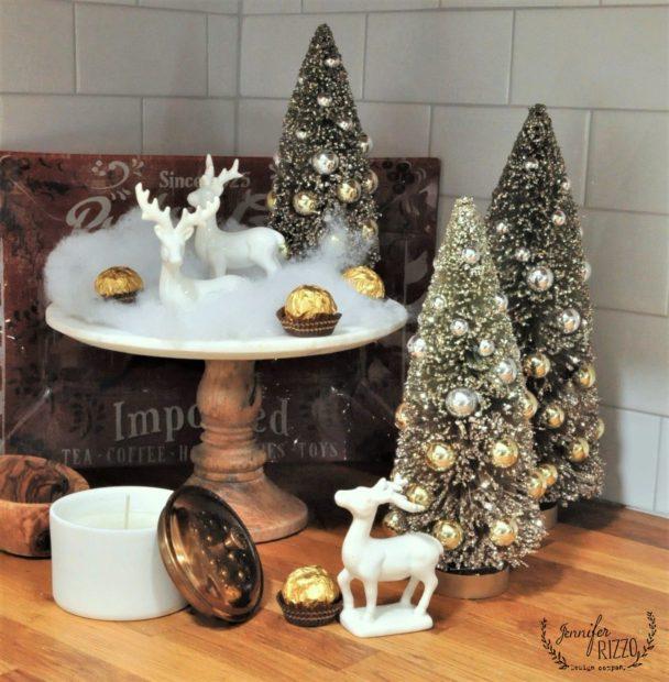 Christmas vignette with vintage bottle bursh trees in Jennifer Rizzo's Christmas ktichen
