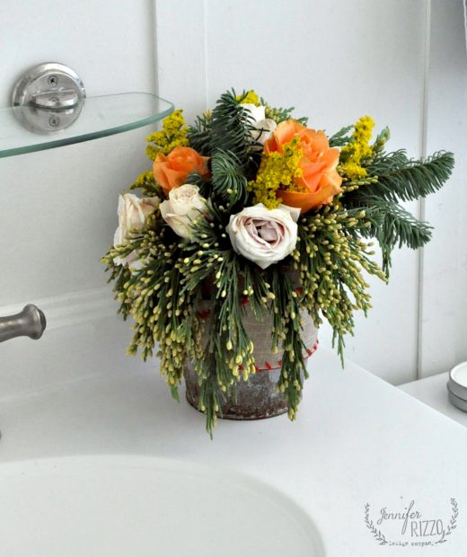 Fresh holiday floral in bathroom