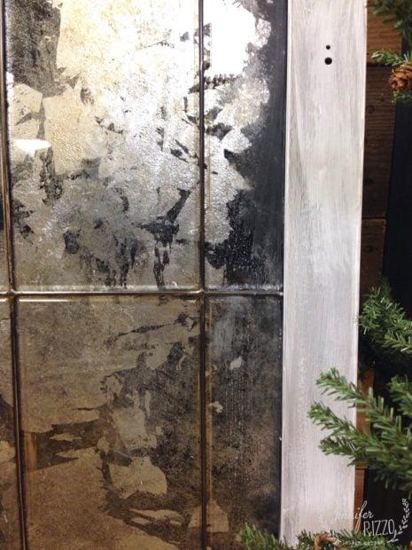 Mercury Glass Silvered Antiqued Window