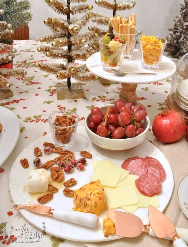Party nibbles on a marble tray for a #holiday party