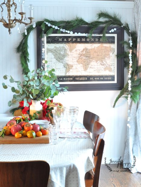Vintage map in diningroom with greenery