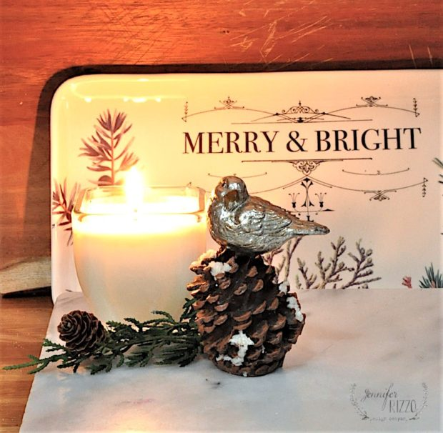 MErry and bright plate and litle bird