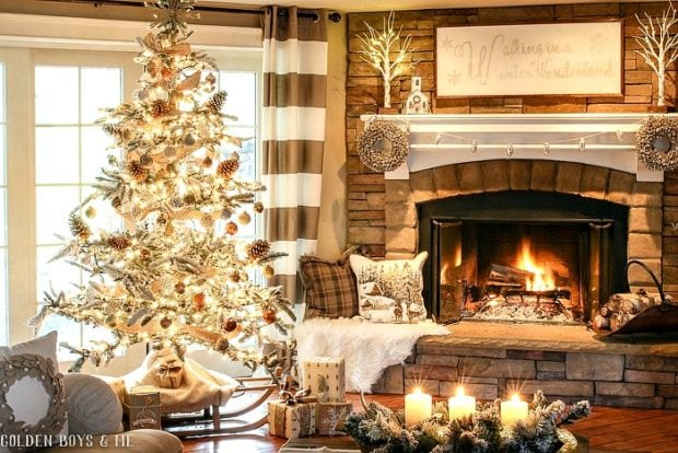 Golden Boys and me winter fireplace holiday decor