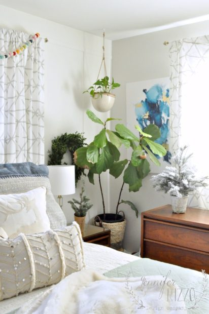 holiday bedroom with plants