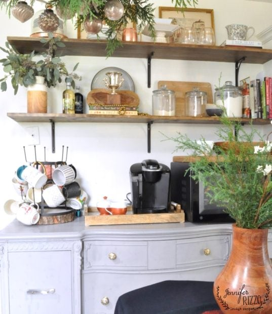 OPen shelves decorated or the holiday's in Jennifer Rizzo's kitchen