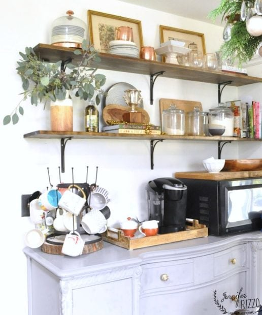 OPen shelving in holiday decor idea in Jennifer Rizzo's kitchen