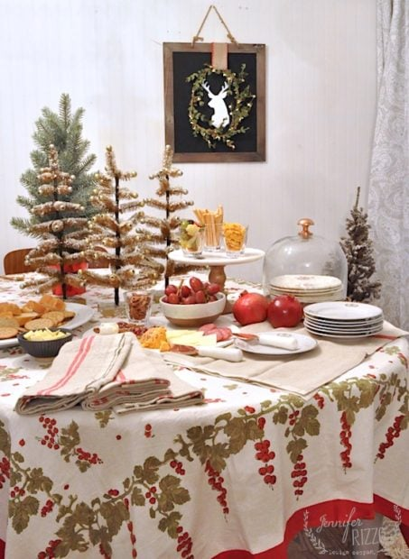 Christmas Dining Area Table set for a mini holiday party