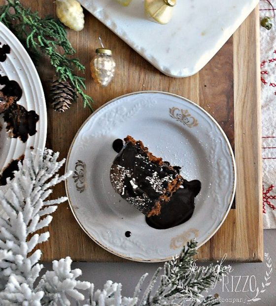 Spiced gingerbread cake with a chocolate drizzle