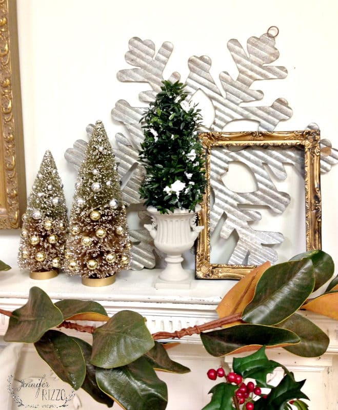 Winter vignette on mantel