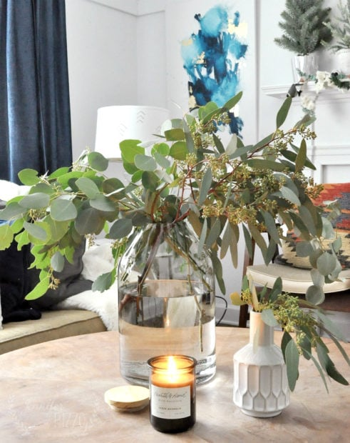 Candle and glass vase from Joanna Gaines and Target