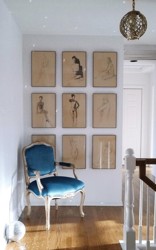 2 Oor Fauteuils.Vintage Peacock Blue Velvet Louis Xv Fauteuil Chair Nude