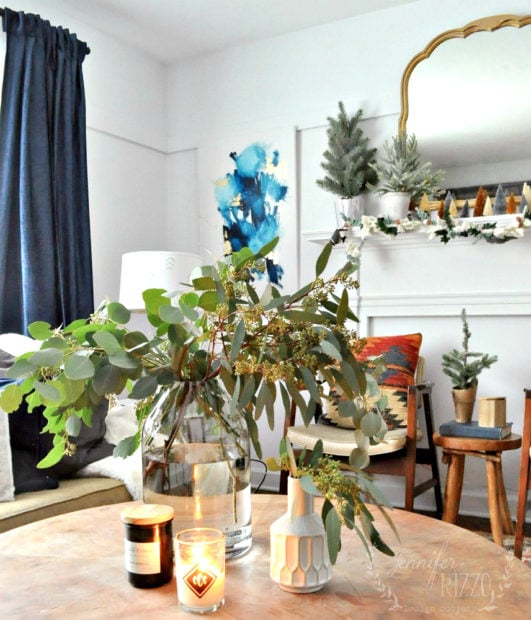 Coffee table setting with seeded eucalyptus