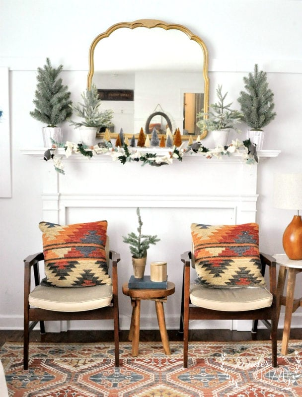 Vintage mcm chairs in boho mid-winter living room