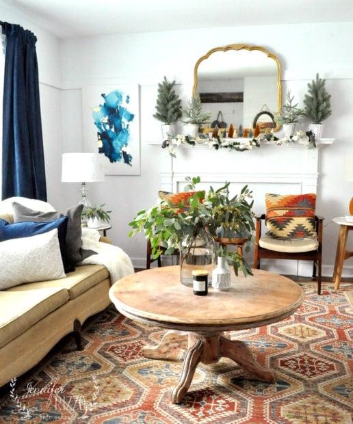 MId-winter boho MCM living room