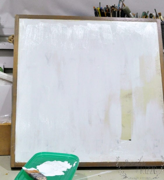 Paint over wood canvas to make abstract living room art