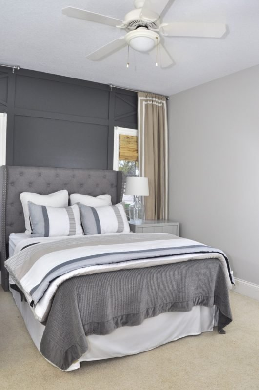 Evolution of Style Dark gray wall paint bedroom accent wall